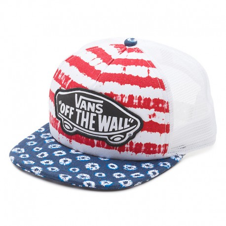 GORRA VANS BEACH GIRL TRUCKER DYED DOTS STRIPES BLUE / RED