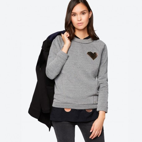 SUDADERA BENCH GLITTER JUMPER WITH BADGE GREY